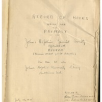 Record of Books which are the Property of the Johns Hopkins Zionist Society