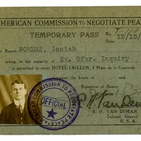 Isaiah Bowman identification card