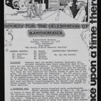 Society for the Celebration of Barthomania Meeting Minutes/Newsletter