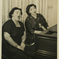 Photograph of Rosa Ponselle and Eileen Farrell before a dual broadcast, 1954.
