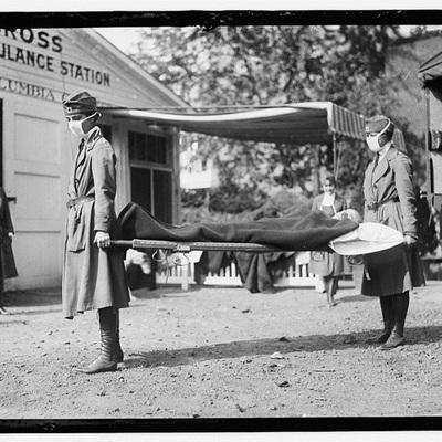 Ambulance transporting flu victims