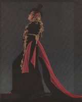 Color photograph as title role in Bizet's Carmen with toreador costume by Valentina