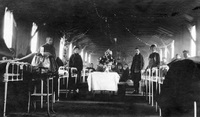 U.S. Army Base Hospital 18, patient ward during Christmas