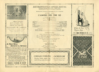 Program for Rosa Ponselle as Fiora in L'Amore dei Tre Re at the Metropolitan Opera,  1926