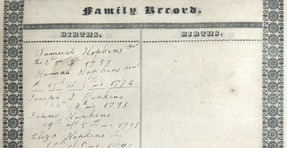 crop of family bible page listing births